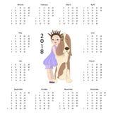 Календарь 2018 с милой собакой Стоковые Фотографии RF