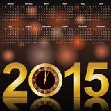 Календарь 2015 с часами Стоковые Изображения