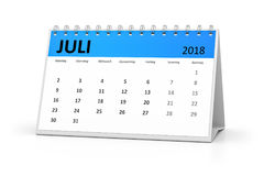 Календарь таблицы немецкого языка 2018 -го июль Стоковая Фотография RF