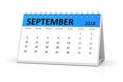 Календарь таблицы немецкого языка 2018 -го сентябрь Стоковое Изображение RF