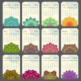 Календарь 2016 украшенный с круговой мандалой цветка иллюстрация вектора