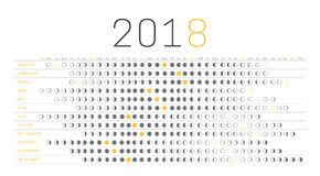 Календарь 2018 луны Стоковые Фотографии RF