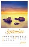 календарь 2017 фото с минималистским ландшафтом сентябрь Стоковая Фотография