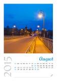 Календарь фото с минималистским городским пейзажем и мостом 2015 стоковые изображения rf