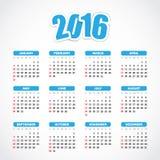 Календарь 2016 Стоковое Изображение