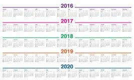 Календарь 2016 2017 2018 2019 2020 Стоковое фото RF