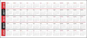 Календарь 2016 2017 2018 2019 2020 Стоковое Изображение RF