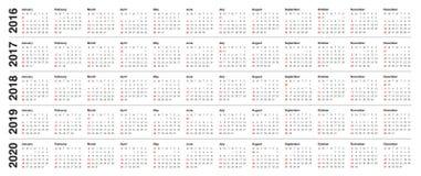 Календарь 2016 2017 2018 2019 2020 Стоковое Изображение