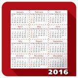 Календарь 2016 иллюстрация штока