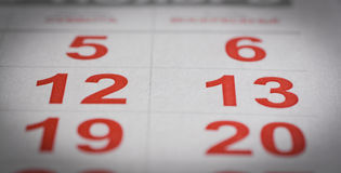 Календарь 12, 13 Стоковая Фотография