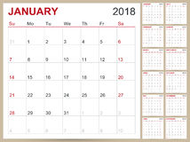 Календарь 2018 Стоковое Изображение RF