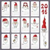 Календарь 2016 Doodles Санта смотрят на, ежемесячные карточки Стоковая Фотография RF