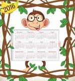 Календарь 2016-Year обезьяны Стоковая Фотография RF