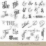 Каллиграфические винтажные символы Стоковые Изображения RF
