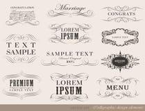 Каллиграфические элементы дизайна, украшение страницы Стоковые Изображения