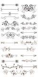 каллиграфический вектор комплекта элементов конструкции Стоковые Изображения RF