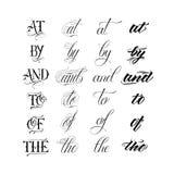 Каллиграфический комплект литерности татуировки Стоковые Фото