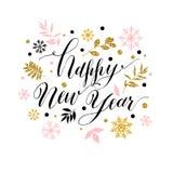 Каллиграфический счастливый Новый Год с снежинками Стиль нарисованный рукой po Стоковая Фотография RF