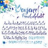 Каллиграфический французский алфавит с украшениями иллюстрация штока