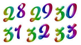 Каллиграфическое 3D представило номера иллюстрация штока