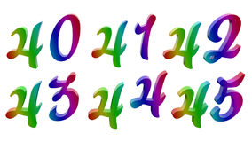 Каллиграфическое 3D представило числа, номера Стоковые Изображения