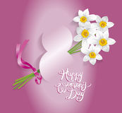 Каллиграфия поздравительной открытки дня ` s женщин 8-ое марта международная Стоковые Изображения RF