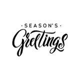 Каллиграфия приветствиям сезонов Оформление поздравительной открытки на предпосылке Стоковые Изображения