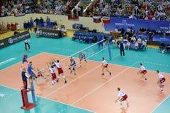 Калининград, Россия Момент игры между командами национальных команд людей Польши и Россией на волейболе Стоковое фото RF