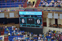 Калининград, Россия Показывая панель перед игрой между национальными командами России и Польшей на волейболе Стоковое фото RF
