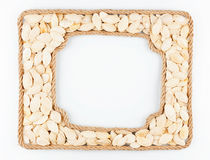 2 кадра веревочки с семенами тыквы на белой предпосылке Стоковые Фото