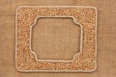 2 кадра сделанного веревочки с зернами пшеницы на дерюге Стоковые Изображения
