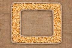 Кадр 2 сделанный веревочки с зернами горохов на дерюге Стоковое фото RF