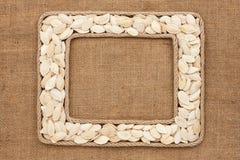 Кадр 2 сделанный веревочки с семенами тыквы на дерюге Стоковая Фотография RF