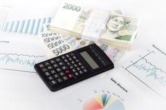 Калькулятор, диаграммы, ручка, рабочее место дела иллюстрация штока