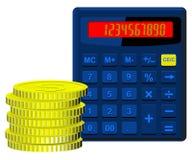 Калькулятор и деньги иллюстрация вектора