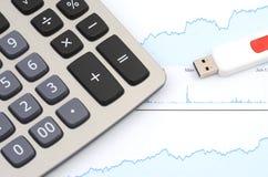 Калькулятор и диаграмма - онлайн концепция коммерции Стоковое фото RF