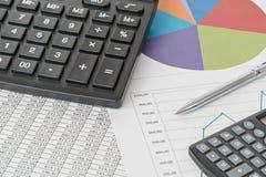 2 калькулятор и диаграммы Стоковые Изображения
