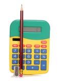 Калькулятор и карандаш Стоковая Фотография RF