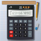 Калькулятор, карандаш, ластик и правитель на чистом листе бумажного острословия Стоковое Изображение