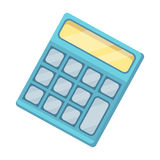 Калькулятор Машина быстро для того чтобы подсчитать данные математика Значок школы и образования одиночный в шарже вводит запас в Стоковые Фотографии RF