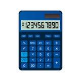 Калькулятор сделан из голубой пластмассы Стоковая Фотография