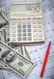 Калькулятор с 100 долларовыми банкнотами Стоковое Изображение RF