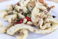 Кальмар соли и перца с луками Chili и весны Стоковые Фото