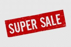 Квадрата продажи Grunge печать уплотнения красного супер резиновая иллюстрация штока
