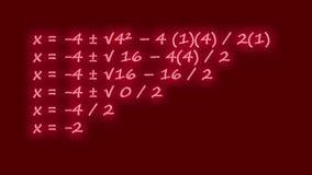 Квадратическая формула написанная в неоне сток-видео
