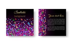Квадратная листовка с confetti иллюстрация штока