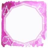 Квадратная рамка акварели с белым полиэдроном Стоковая Фотография