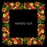 Квадратная рамка для текста или фото, от красочных листьев осени дуба, клена и каштана Стоковое Фото