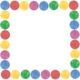 Квадратная рамка красочных шерстяных шариков потока и места для вашего текста Стоковое Изображение