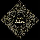 Квадратная рамка с итальянскими макаронами различных видов светлый - желтая покрашенная притяжка руки на черной предпосылке иллюстрация штока